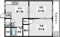 尾崎ハイツA 1階2DKの間取り