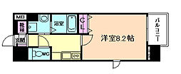 ディクス梅田東レジデンス 8階1Kの間取り