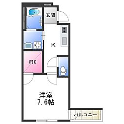 Osaka Metro四つ橋線 北加賀屋駅 徒歩10分の賃貸アパート 1階1Kの間取り
