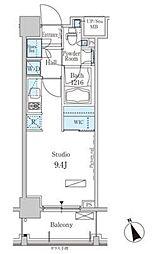パークアクシス芝浦 8階ワンルームの間取り