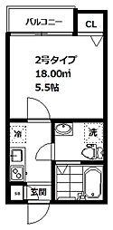インベスト大崎6 2階1Kの間取り