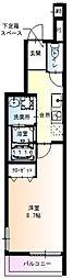 阪急千里線 豊津駅 徒歩6分の賃貸アパート 1階1Kの間取り