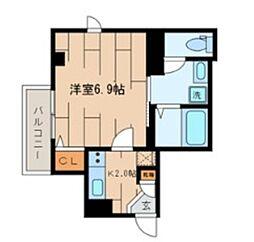小田急小田原線 下北沢駅 徒歩11分の賃貸マンション 3階1Kの間取り