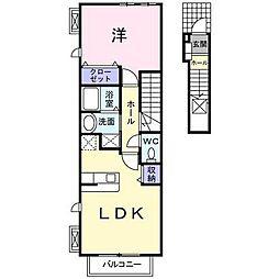 西武池袋線 東久留米駅 徒歩18分の賃貸アパート 2階1LDKの間取り