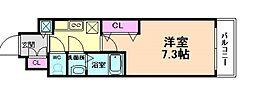 阪急神戸本線 十三駅 徒歩10分の賃貸マンション 8階1Kの間取り