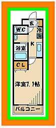 西武多摩川線 是政駅 徒歩2分の賃貸マンション 3階1Kの間取り