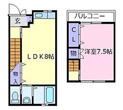 [テラスハウス] 大阪府松原市上田7丁目 の賃貸【/】の間取り