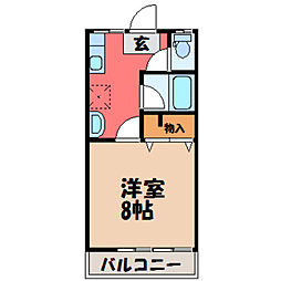 栃木県宇都宮市富士見が丘4丁目の賃貸アパートの間取り