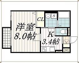 千葉県千葉市中央区登戸3丁目の賃貸アパートの間取り