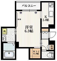 Mervelle oku-ekimae 2階1Kの間取り