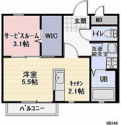 三重県鈴鹿市三日市1の賃貸アパートの間取り