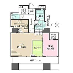 東京メトロ半蔵門線 神保町駅 徒歩1分の賃貸マンション 23階1LDKの間取り
