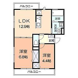 神奈川県横浜市港南区日野6丁目の賃貸アパートの間取り