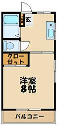JR南武線 久地駅 徒歩4分の賃貸アパート 2階1DKの間取り