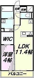 アイム藤沢 2階1LDKの間取り