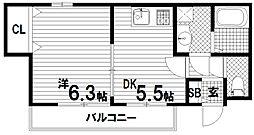 セオコート須磨離宮[1階]の間取り