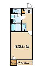 東武東上線 新河岸駅 徒歩16分の賃貸アパート 2階1Kの間取り