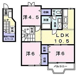 東武東上線 東松山駅 バス19分 丸貫下車 徒歩3分の賃貸アパート 2階3LDKの間取り