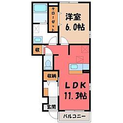 栃木県真岡市大谷本町の賃貸アパートの間取り