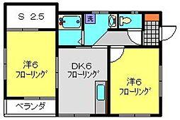 ウイングドミールA[2階]の間取り