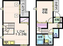 シャルル シャトーレ 2階1LDKの間取り