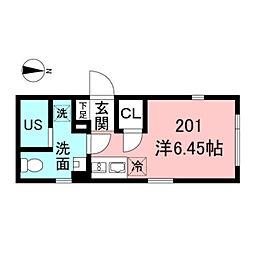 ASTILE新宿III 2階ワンルームの間取り