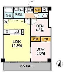 JR横須賀線 武蔵小杉駅 徒歩3分の賃貸マンション 2階1LDKの間取り
