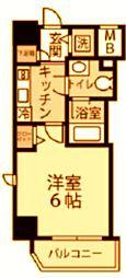 東急東横線 反町駅 徒歩3分の賃貸マンション 6階1Kの間取り