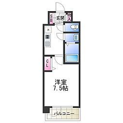 プレサンス天王寺ノースヴィアーレ 12階1Kの間取り