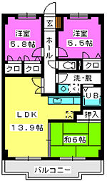 サンシャイン博多南[2階]の間取り