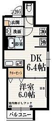 香風 B棟 2階1DKの間取り