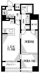 コンポジット日本橋 9階2LDKの間取り