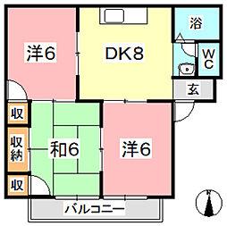 ガーデンビュー西中[208号室]の間取り