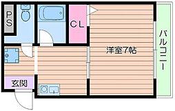 阪急千里線 千里山駅 徒歩7分の賃貸マンション 2階1Kの間取り