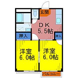 埼玉県草加市旭町5丁目の賃貸マンションの間取り