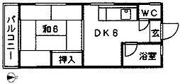 コーポ福島[201号室]の間取り