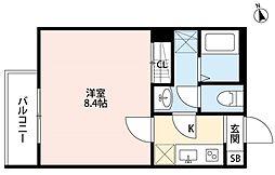 JR総武線 千葉駅 徒歩9分の賃貸アパート 2階1Kの間取り
