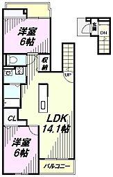 埼玉県入間市小谷田3丁目の賃貸アパートの間取り