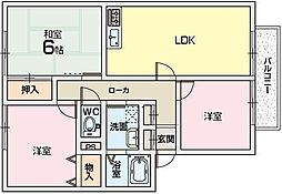 カルチェ東香里2[2階]の間取り
