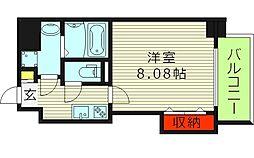 ドゥエリングASAHI 8階1Kの間取り