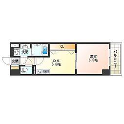 阪神本線 淀川駅 徒歩5分の賃貸マンション 6階1DKの間取り