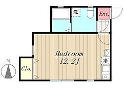 多摩都市モノレール 程久保駅 徒歩2分の賃貸アパート 2階ワンルームの間取り