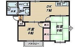 大阪府堺市西区鳳中町6丁の賃貸マンションの間取り