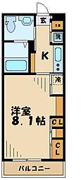 京王相模原線 南大沢駅 徒歩12分の賃貸マンション 1階1Kの間取り