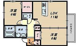 大阪府堺市中区伏尾の賃貸アパートの間取り