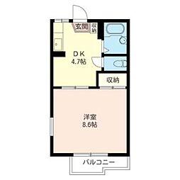 イースト ハウス B 2階1DKの間取り