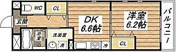 大阪府大阪市平野区瓜破西2丁目の賃貸アパートの間取り