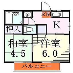 埼玉県川口市芝高木1丁目の賃貸アパートの間取り
