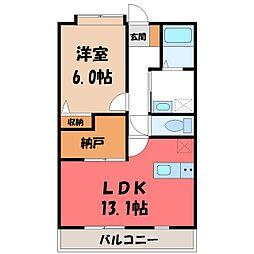 栃木県宇都宮市鶴田2丁目の賃貸マンションの間取り