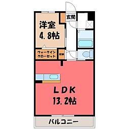 東武宇都宮線 西川田駅 徒歩13分の賃貸マンション 3階1LDKの間取り